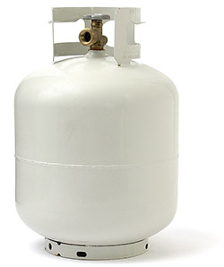 Small, portable and refillable propane tank.